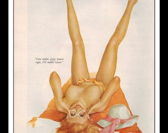 """Vargas Playboy Pinup Girl Vintage August 1970 """"Peace Sign"""" Sexy Redhead Nude Mature Black Negligee Wall Art Deco Print"""