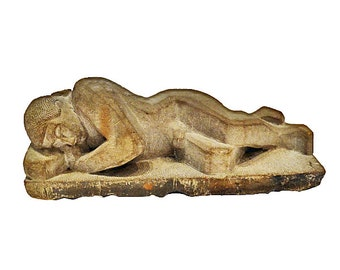 Harvey Moore Reclining Figure Stone Sculpture