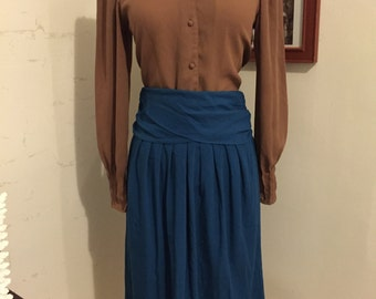 80's teal mid length skirt