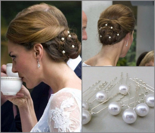 Set Of 10 Kate Middleton Bridal Pearl Hairpinswedding Pearl