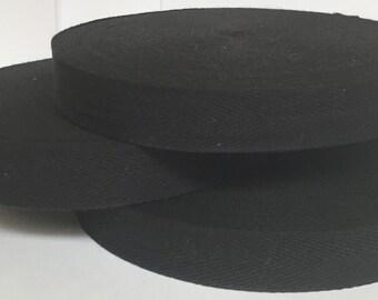 3 X 2.5cm X 50M Roll Black Cotton Bunting Tape