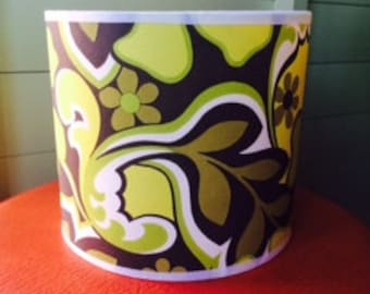 Hand covered Lampshade in 70's wallpaper