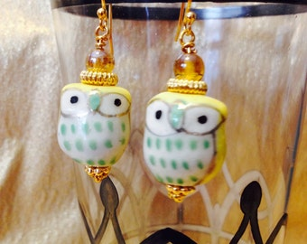 Yellow and Gold Owl Earrings