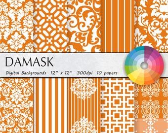 Orange damask digital paper Orange digital paper Orange damask digital paper Orange damask digital paper Orange damask digital paper 10pk