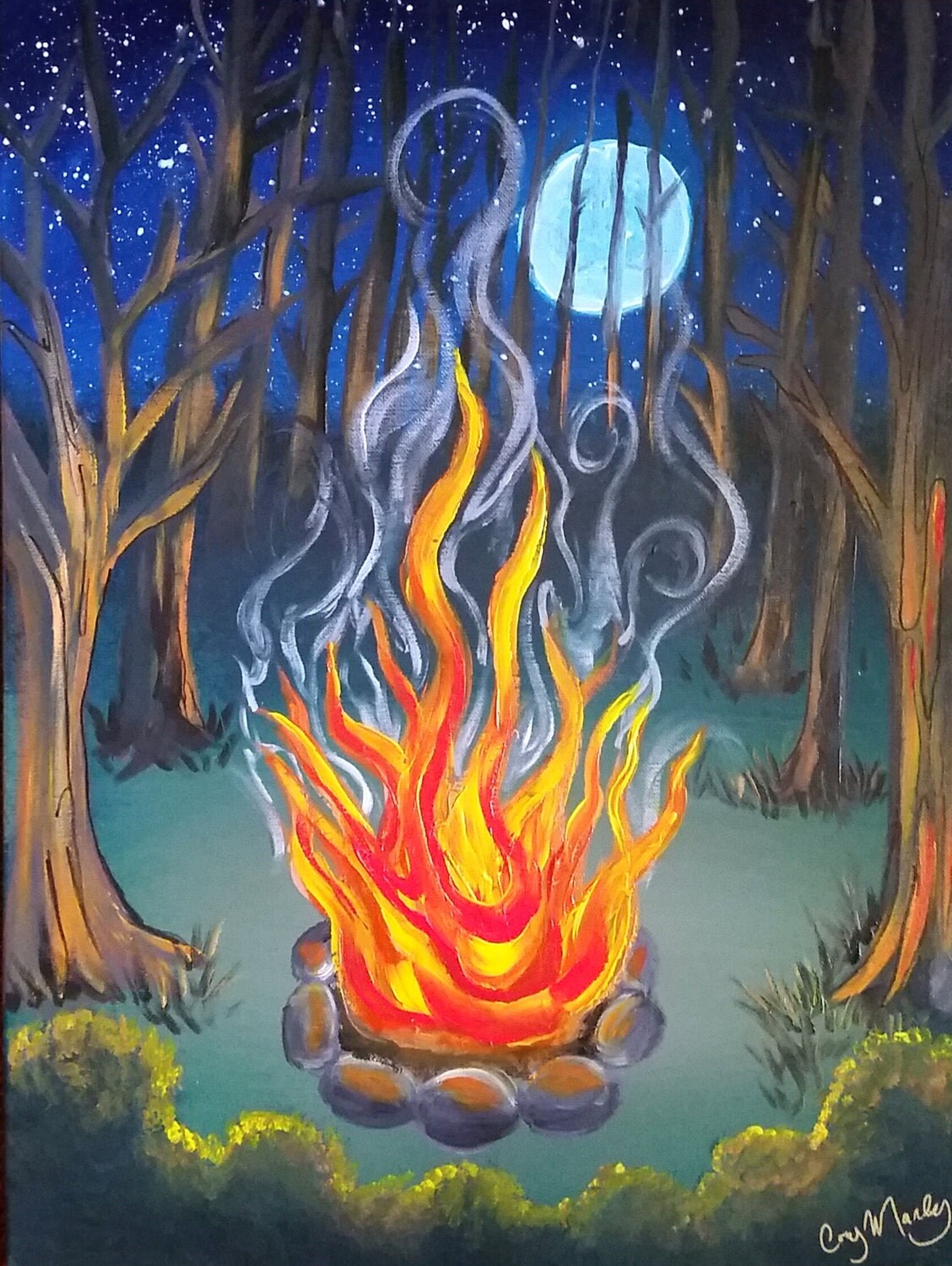 Campfire painting images galleries for How paint on canvas