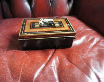 Vintage Collectible Small Safety Deposit Box Tin Safe With Key Retro Steampunk.