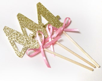 Pink and Gold Glitter Cupcake toppers, Turn 4 birthday decorations