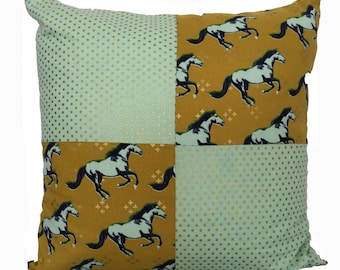 mustard patchwork pony cushion cover