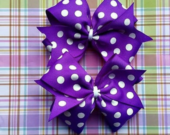 Purple with White Polka Dot Pinwheel Hair Bows