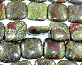 Dragon Blood Jasper Bead, Square, 20x20mm, 16 Inch, Full strand, 20 beads, Hole 1.2 mm, A quality (495056001)