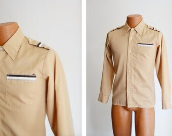 """s a l e 1970s Brown Long Sleeve Button Up - 38"""" Chest"""