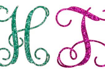 glitter vine font single letter monogram , heat transfer iron on , glitter initials , personalized iron on ,single letter monogram