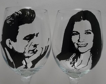 Johnny Cash, June Carter, Hand painted glass, Painted wine glasses