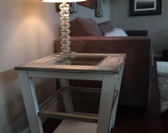 Distressed White Double Glass End Table, Farm House End Table, Glass End Table,