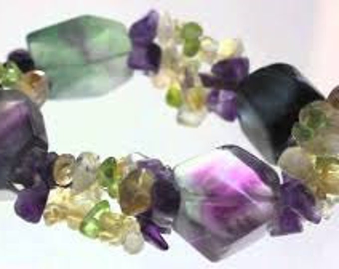 Gifts for Employees, Fluorite Crystal Bracelet / Reiki Healing Jewelry