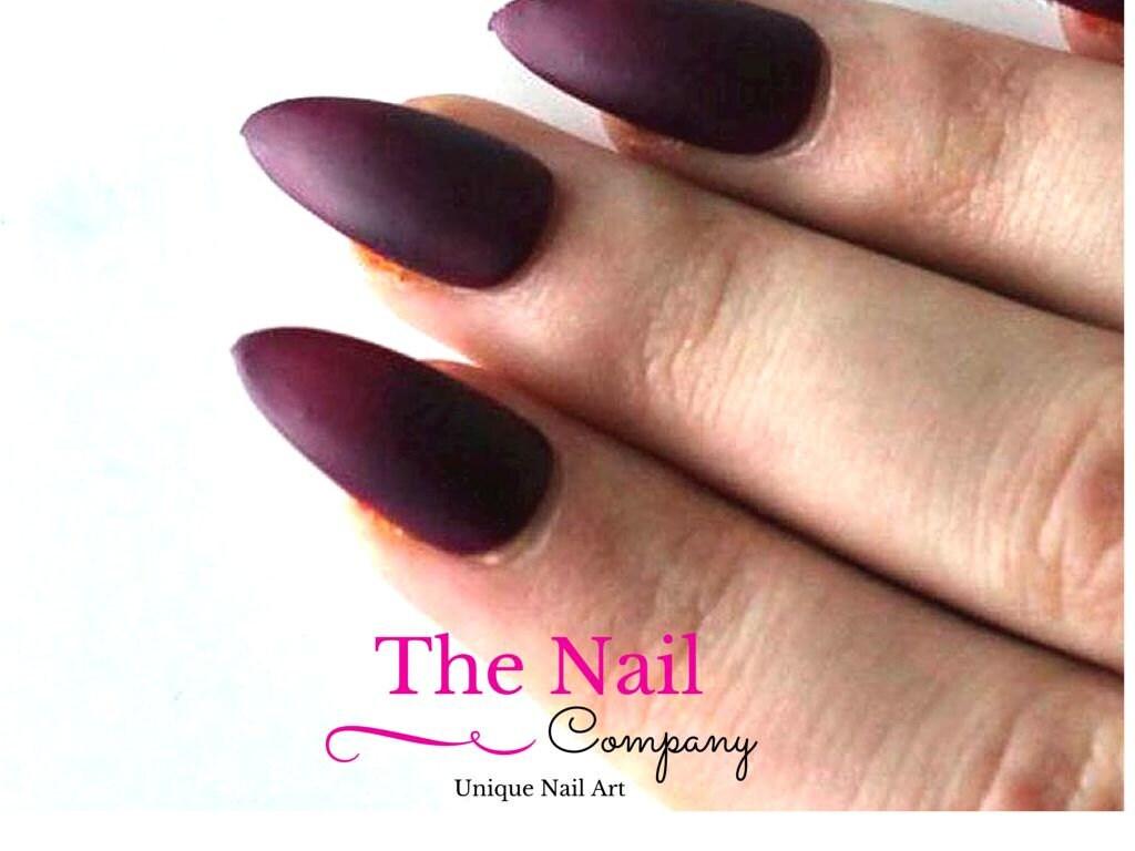 burgundy red matte stiletto nails fake nails red stiletto