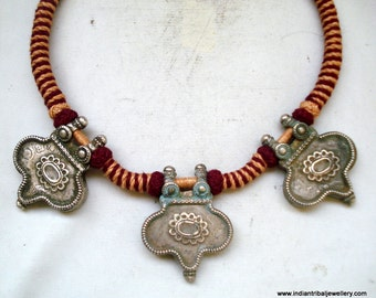 old silver jewelry pendant necklace vintage antique choker tribal belly dance