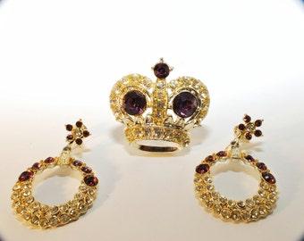 Spectacular Vintage Queens Crown Rhinestone Brooch and Earrings Set