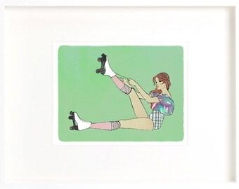 roller skater, drawing of roller skater, roller skates print, roller skates drawing, digital art roller skates, roller skates download, JPEG