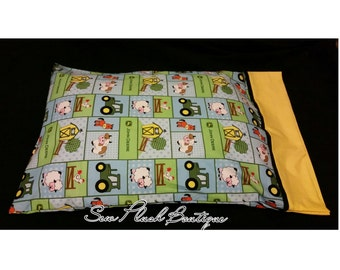 Boys Pillowcase, John Deere Pillowcase, Farm Pillowcase, Tractor Truck, Cotton Pillowcase, Cotton Pillowcase