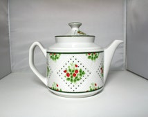 Vintage Strawberry Teapot, Swiss Strawberry Dot China Teapot by Enesco 1975 <> China Teapot with Fruit <> Ceramic Teapot <> Japanese Teapot