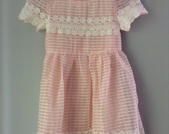 Peach cotton lace dress