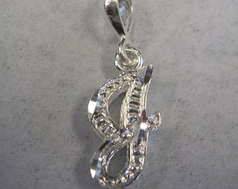 Letter J initial pendant charm in sterling silver