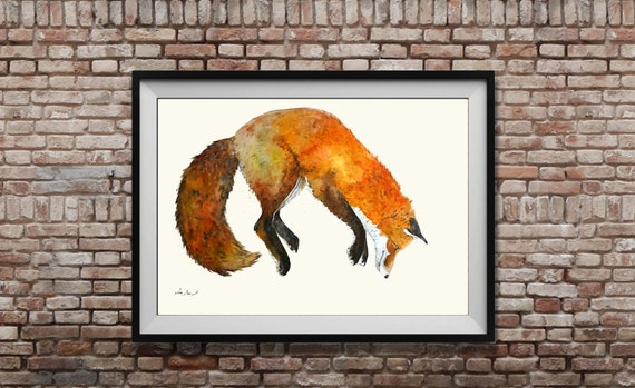Fox Large Size Original Painting Fox Jumping Forest Fox