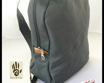 Backpack black calfskin bag