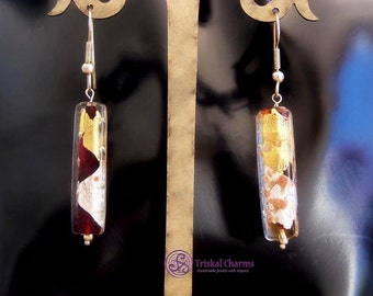 Handmade sterling silver earrings with Murano Glass