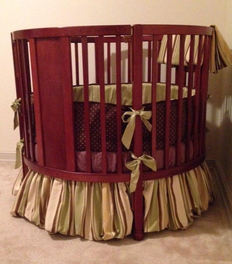 Round crib custom nursery bedding and curtain by TBMonograms