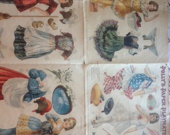 Rare Antique 1911 Original 6 Page Paper Doll Booklet Polly's Paper Playmates Native Dances Uncut