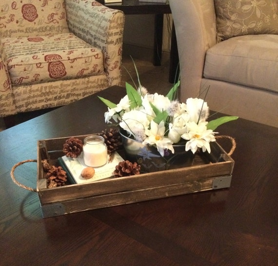Items similar to stained decorative tray with brackets for Centerpieces for wood dining table