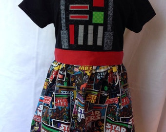 Darth Vader t-shirt dress sizes 2-3 (for ages 2-3 and 3-4)