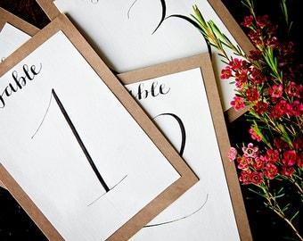 10 Table Numbers // Wedding and Party Decor // Calligraphy