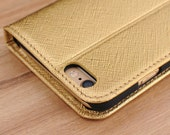 Gold Saffiano Leather Side Flip Wallet Phone Case for Apple iPhone 6 / 6s