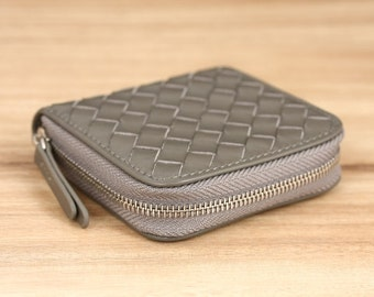 Anselm Woven Leather Coin Wallet - Grey