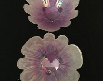 Set of 2 Purple Iridescent Decorative Art Glass Serving Bowls                                             VG1536