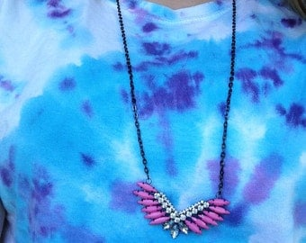 Statement Necklace: Pink and Gray