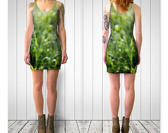 Womens Green Grass Fitted Dress, GreenTeen Dress, Green Nature Dress, Short Dress, Reversible Bodycon Spandex dress