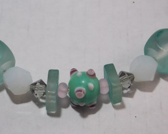 """Mint Green Lampwork Beads and Acrylic Squares, Swarovski Crystals, White Glass Beads, 20"""" Necklace & Earring Set"""