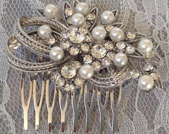 Valerie; Swarovski Crystal & Pearl comb, Bridemaids com, bridal comb, comb, bridal accessories