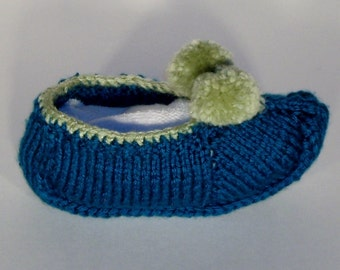 Girls Slippers. Hand Knitted