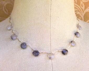 necklace with tourmalinated quartz briolettes