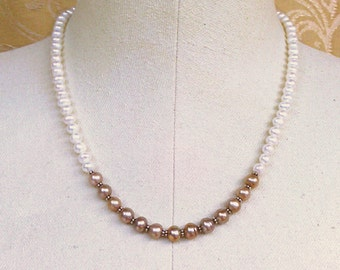 necklace with white and taupe freshwater pearls