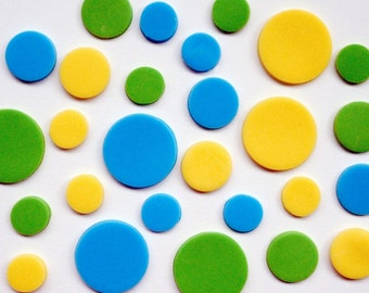 36 Polka Dots  Fondant Toppers (any colors)