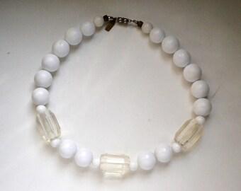 Pauline Rader white beaded choker necklace, Vintage designer necklace, classic white beaded necklace