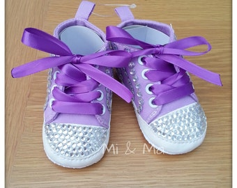 Baby girl bling shoe, infant shoes, baby shoes, Soft sole shoe, first birthday outfit, rhinestones, purple and white, 6-15 months