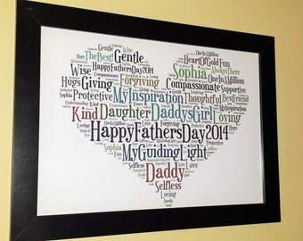 Fathers Day Personalised Word Art Gift, unique framed or un-framed print (A4 or A3)