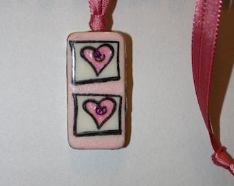 Domino Necklace, Domino Double Heart Pendant